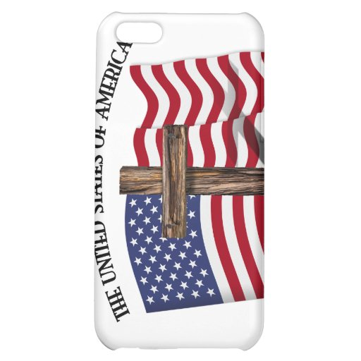GOD BLESS UNITED STATES OF AMERICA cross US flag iPhone 5C Cases