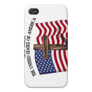 GOD BLESS UNITED STATES OF AMERICA cross US flag iPhone 4/4S Cover