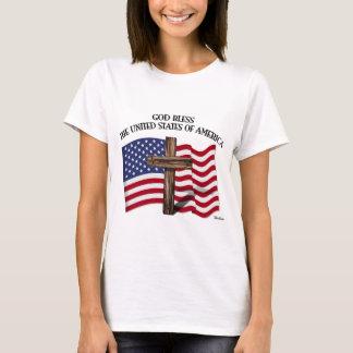 GOD BLESS UNITED STATES OF AMERICA cross US flag T-Shirt