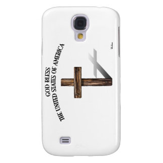GOD BLESS UNITED STATES OF AMERICA rugged cross Galaxy S4 Case