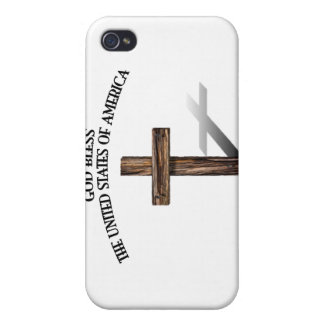 GOD BLESS UNITED STATES OF AMERICA rugged cross Cases For iPhone 4