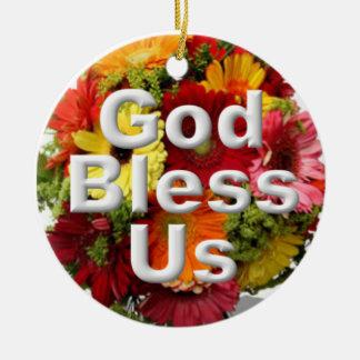 God bless us christmas ornament
