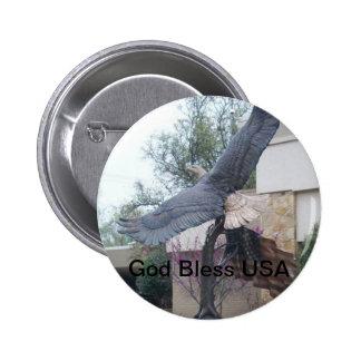 God Bless USA Bald Eagle Button