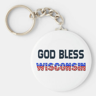 God Bless Wisconsin Basic Round Button Key Ring