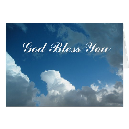 God Bless You clouds Card