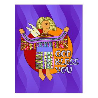 God Bless You   violet waves Postcard
