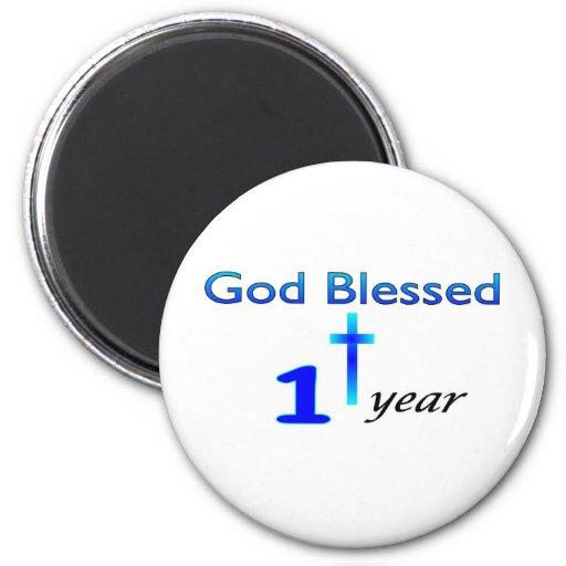 God Blessed 1 year birthday gift Fridge Magnets