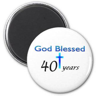 God Blessed 40 years birthday gift 6 Cm Round Magnet