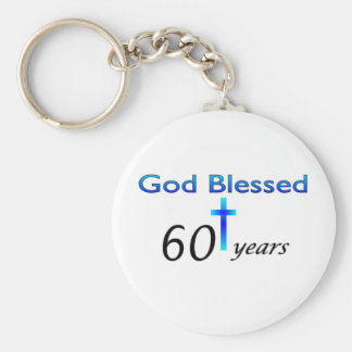 God Blessed 60 years birthday gift Basic Round Button Key Ring