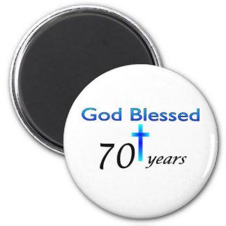 God Blessed 70 years birthday gift 6 Cm Round Magnet