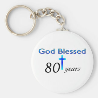 God Blessed 80 years birthday gift Basic Round Button Key Ring