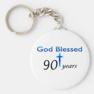 God Blessed 90 years birthday gift Basic Round Button Key Ring