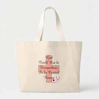 God Could Not Everywhere NURSES pink cross Large Tote Bag