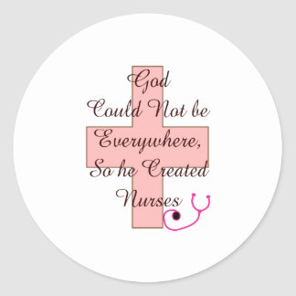 God Could Not Everywhere NURSES pink cross Round Sticker