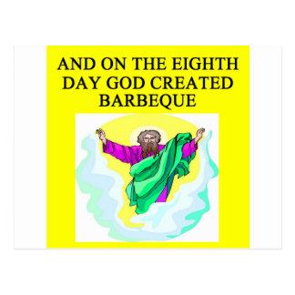 god created barbecue postcard