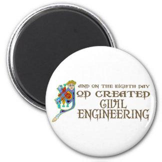 God Created Civil Engineering 6 Cm Round Magnet