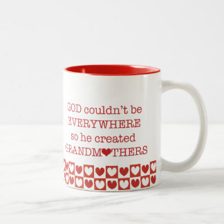 God Created Grandmothers-Red Hearts Coffee Mugs