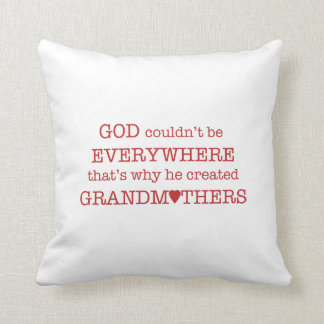God Created Grandmothers-Red Throw Pillow