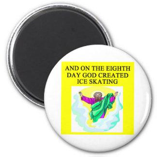 god created ice skating 6 cm round magnet