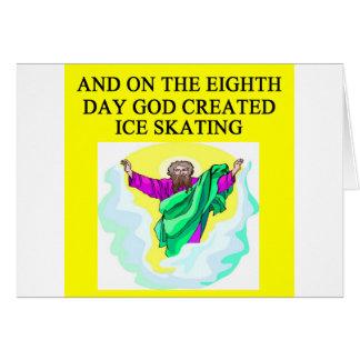 god created ice skating greeting card