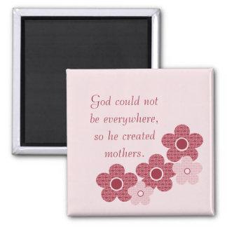 God Created Mothers Patterned Flower Magnet, Pink Square Magnet