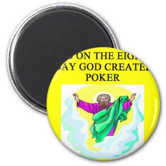 god created poker 6 cm round magnet