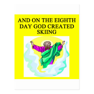 god created skiing postcards