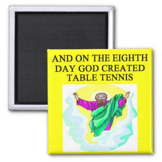 god created table tennis square magnet