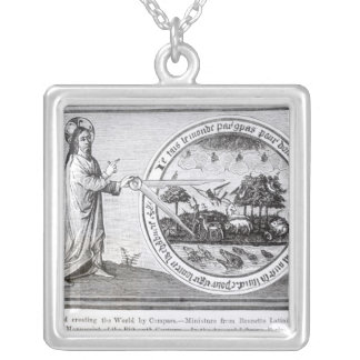 God Creating the World by Compass Silver Plated Necklace