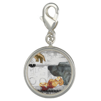 GOD DOG WEIM SILVER PLATED ROUND CHARM