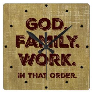 God. Family. Work. Priorities Wallclocks