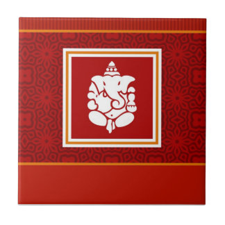 God Ganesha Design Small Square Tile