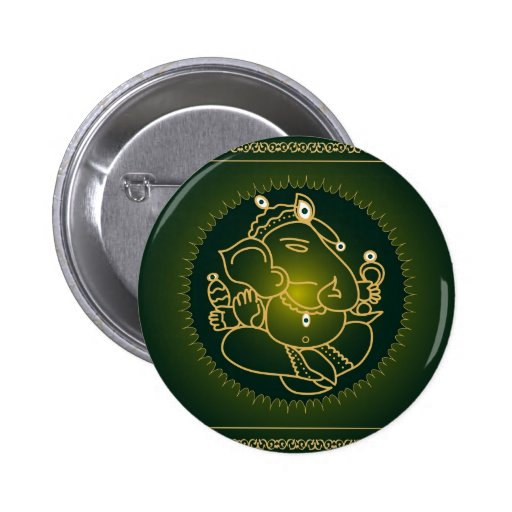 God Ganesha on green - Button