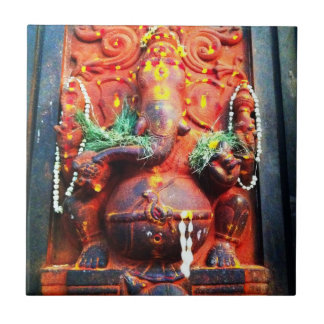 God Ganesha statue Small Square Tile