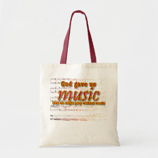 God gave us music budget tote bag