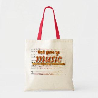 God gave us music tote bag
