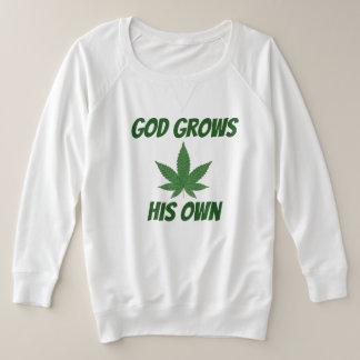 God Grows His Own Weed Plus Size Sweatshirt