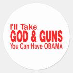 GOD & GUNS ROUND STICKERS
