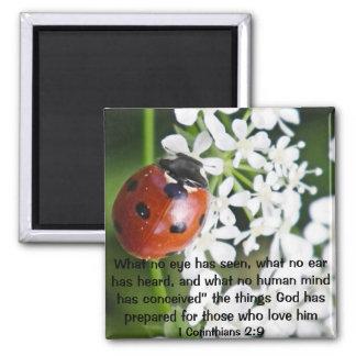 God has prepared bible verse 1 Corinthians 2:9 Square Magnet