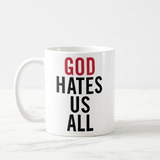 """""""God Hates U.S. All"""". Californication Hank Moody Basic White Mug"""