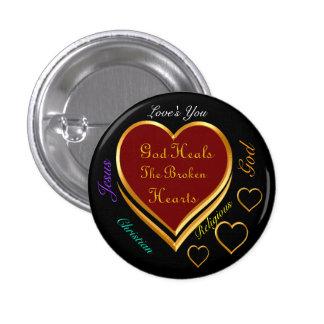 God Heals The Broken Hearts 3 Cm Round Badge