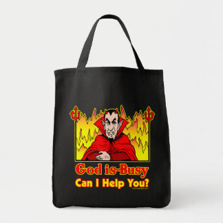 God Is Busy, Can I Help You? Grocery Tote Bag