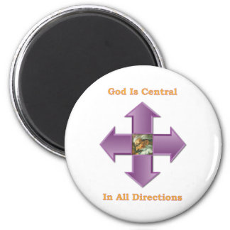 God is Central in all directions 6 Cm Round Magnet