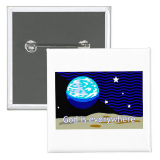 God is everywhere earth and stars button