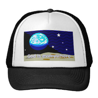 God is everywhere, earth and stars mesh hat
