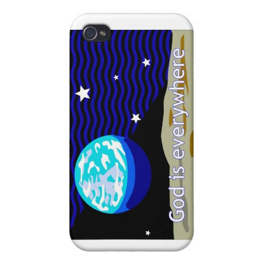 God is everywhere, earth and stars iPhone 4 covers