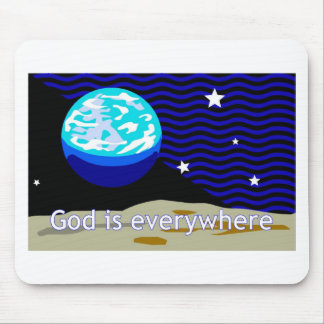 God is everywhere, earth and stars mouse pad