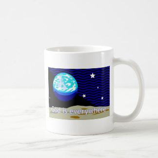 God is everywhere, earth and stars mugs