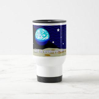 God is everywhere, earth and stars mug