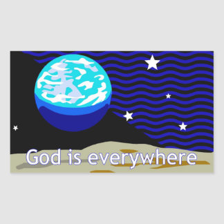 God is everywhere earth and stars rectangle sticker
